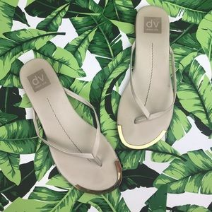 Dolce Vita Nude Leather Gold Thong Flip Flops